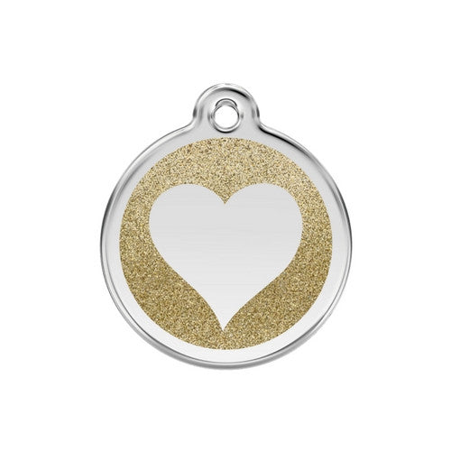 Red Dingo Glitter Heart Stainless Steel Dog ID Tag Medium Gold