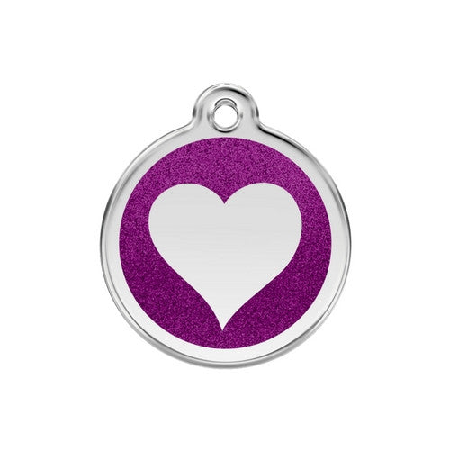 Red Dingo Glitter Heart Stainless Steel Dog ID Tag Medium Purple
