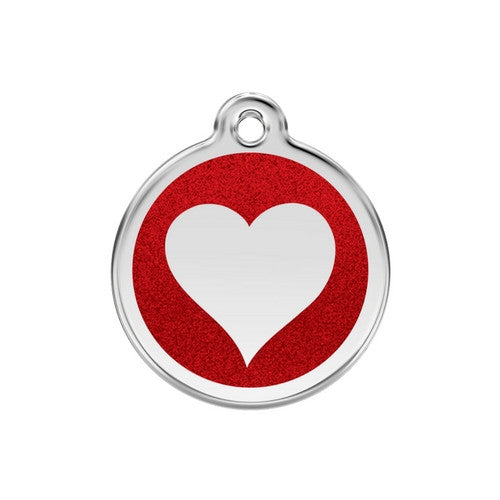 Red Dingo Glitter Heart Stainless Steel Dog ID Tag Medium Red