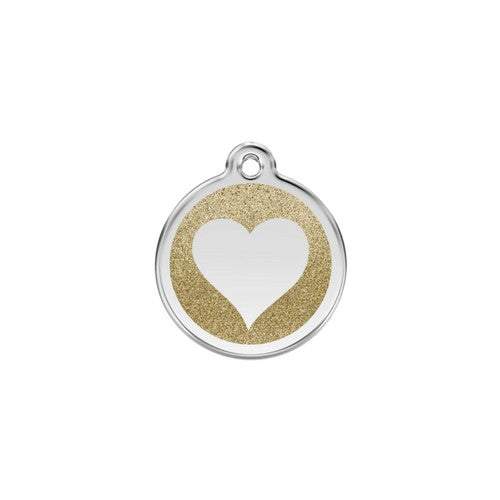 Red Dingo Glitter Heart Stainless Steel Dog ID Tag Small Gold