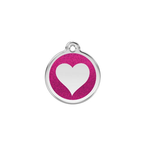 Red Dingo Glitter Heart Stainless Steel Dog ID Tag Small Hot Pink