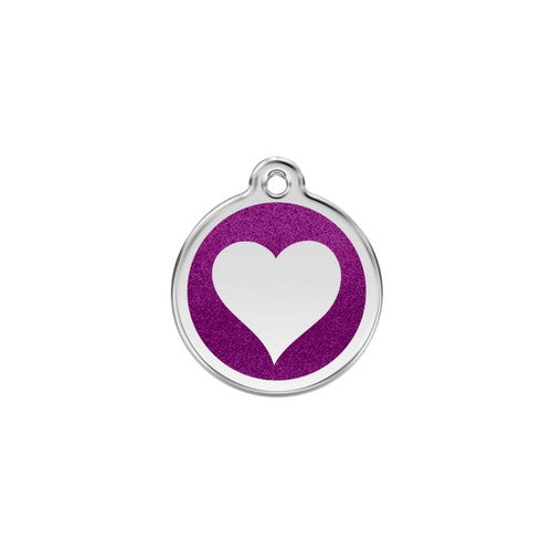 Red Dingo Glitter Heart Stainless Steel Dog ID Tag Small Purple