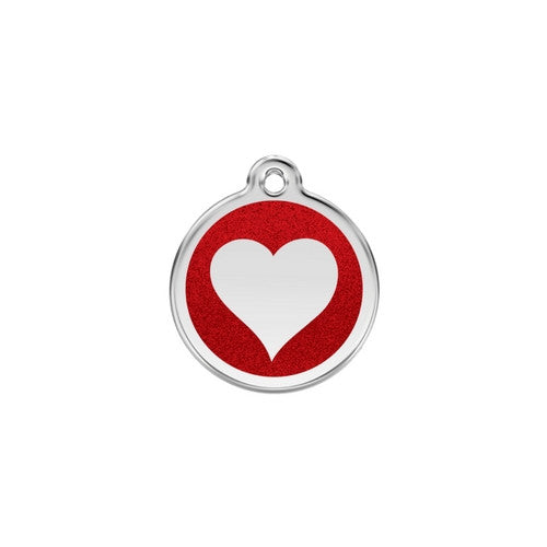 Red Dingo Glitter Heart Stainless Steel Dog ID Tag Small Red