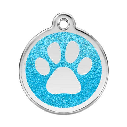 Red Dingo Paw Print Glitter Stainless Steel Dog ID Tag Large Aqua