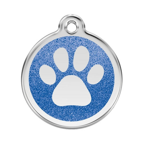 Red Dingo Paw Print Glitter Stainless Steel Dog ID Tag Large Dark Blue