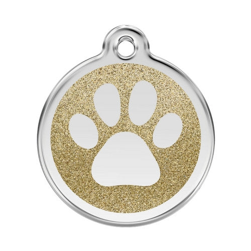 Red Dingo Paw Print Glitter Stainless Steel Dog ID Tag Large Gold