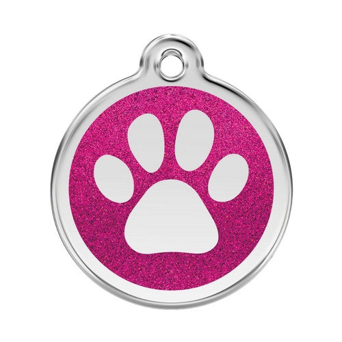 Red Dingo Paw Print Glitter Stainless Steel Dog ID Tag Large Hot Pink