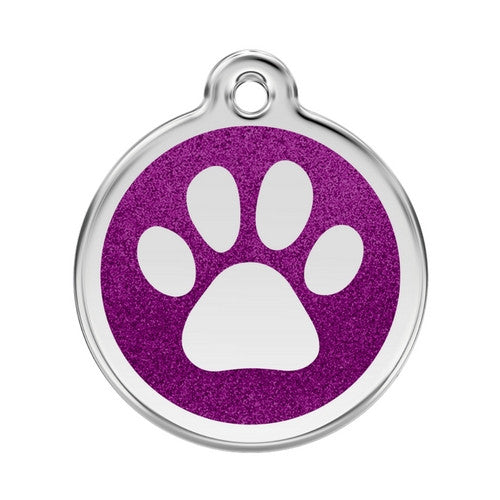 Red Dingo Paw Print Glitter Stainless Steel Dog ID Tag Large Purple