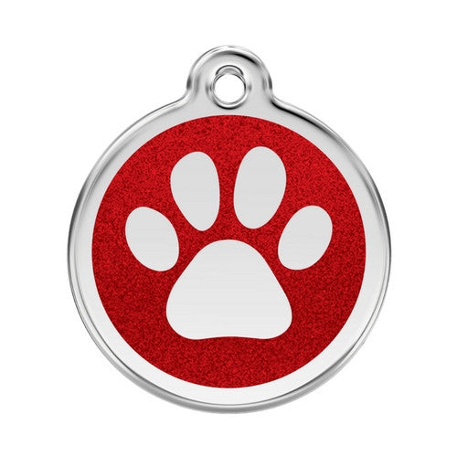 Red Dingo Paw Print Glitter Stainless Steel Dog ID Tag Large Red