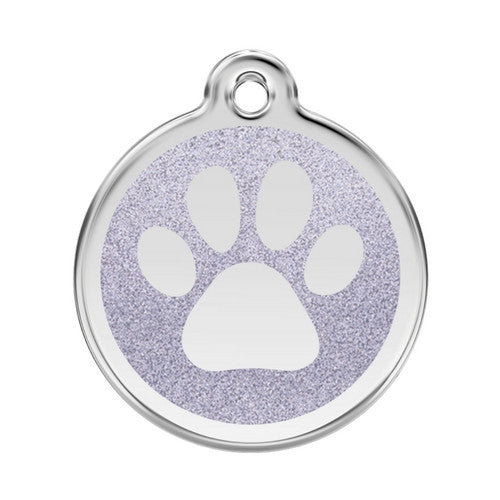 Red Dingo Paw Print Glitter Stainless Steel Dog ID Tag Large Silver