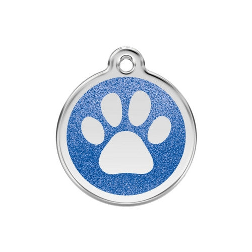 Red Dingo Paw Print Glitter Stainless Steel Dog ID Tag Medium Dark Blue