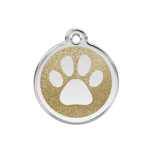 Red Dingo Paw Print Glitter Stainless Steel Dog ID Tag Medium Gold