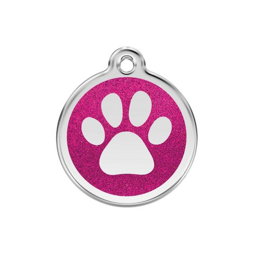 Red Dingo Paw Print Glitter Stainless Steel Dog ID Tag Medium Hot Pink