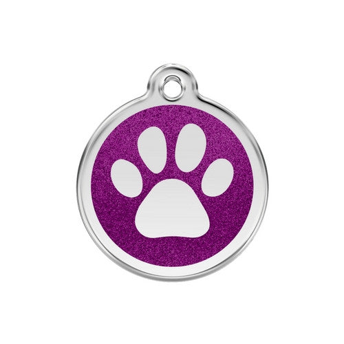 Red Dingo Paw Print Glitter Stainless Steel Dog ID Tag Medium Purple