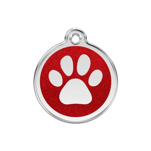 Red Dingo Paw Print Glitter Stainless Steel Dog ID Tag Medium Red