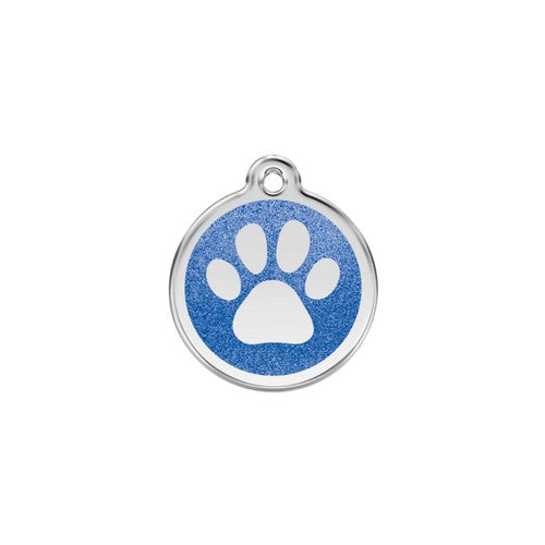 Red Dingo Paw Print Glitter Stainless Steel Dog ID Tag Small Dark Blue