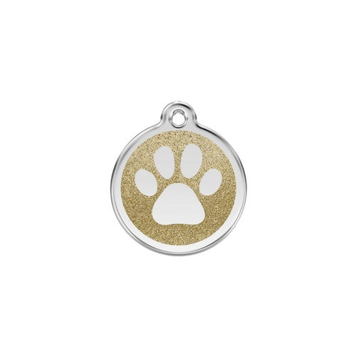 Red Dingo Paw Print Glitter Stainless Steel Dog ID Tag Small Gold