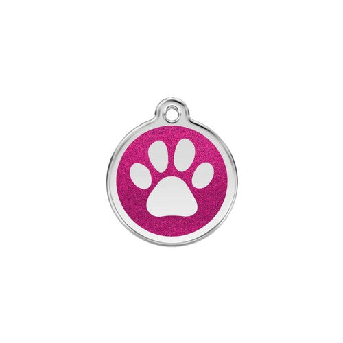 Red Dingo Paw Print Glitter Stainless Steel Dog ID Tag Small Hot Pink