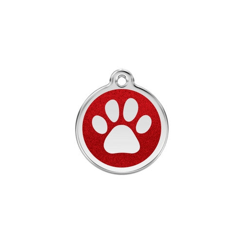 Red Dingo Paw Print Glitter Stainless Steel Dog ID Tag Small Red