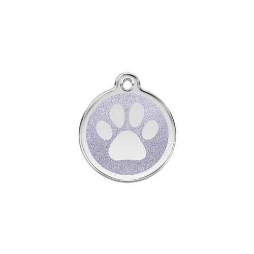 Red Dingo Paw Print Glitter Stainless Steel Dog ID Tag Small Silver