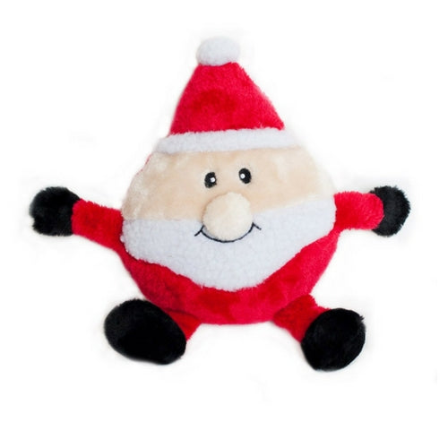 Zippy Paws Holiday Santa Brainey Plush Dog Toy