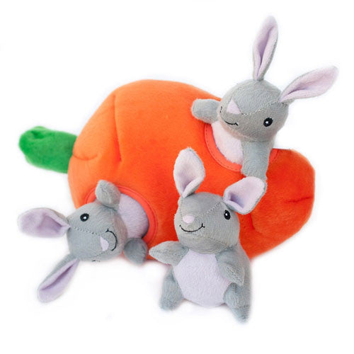 Zippy Paws Bunny n' Carrot Burrow Interactive Plush Puzzle Dog Toy