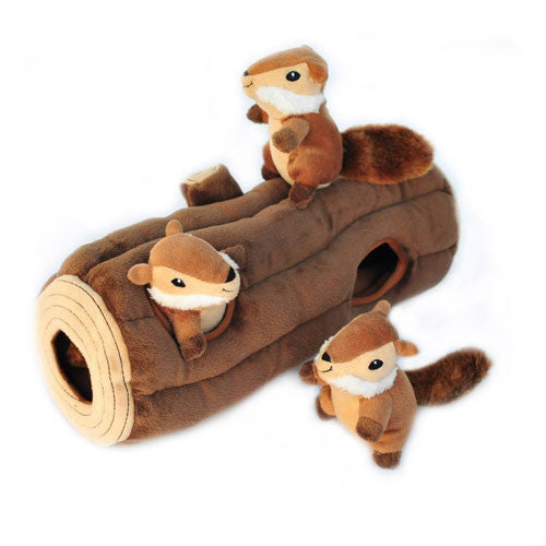 ZippyPaws Chipmunk Log Burrow Interactive Plush Puzzle Dog Toy Side View