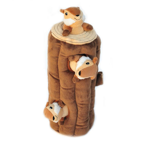 ZippyPaws Chipmunk Log Burrow Interactive Plush Puzzle Dog Toy Standing View