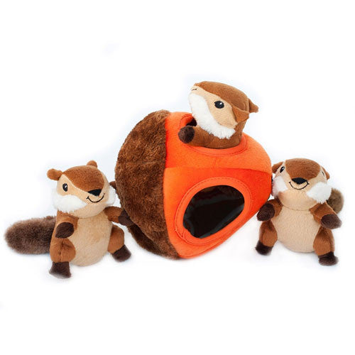 Zippy Paws Chipmunk Acorn Burrow Interactive Plush Puzzle Dog Toy