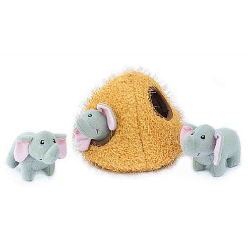 ZippyPaws Elephant Cave Burrow Interactive Plush Puzzle Dog Toy