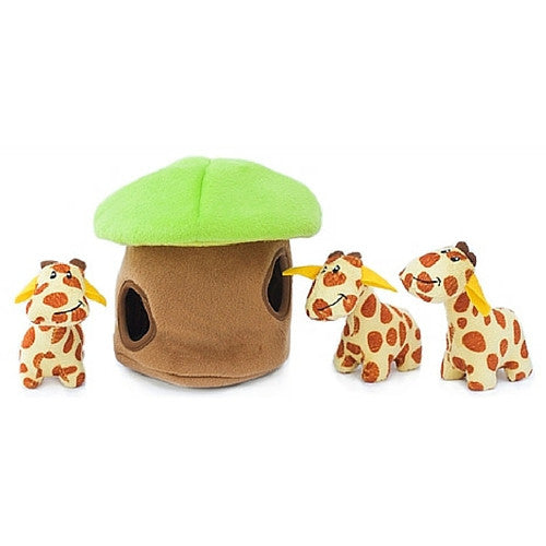 ZippyPaws Giraffe Lodge Burrow Interactive Plush Puzzle Dog Toy