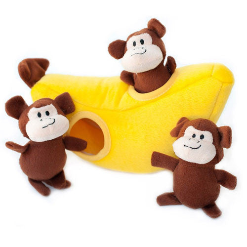 Zippy Paws Monkey Banana Burrow Interactive Plush Puzzle Dog Toy
