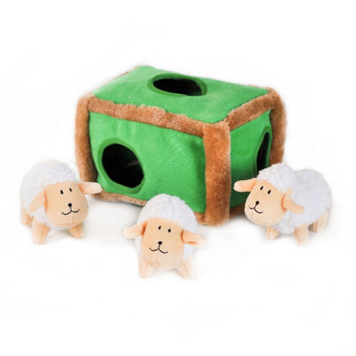 Zippy Paws Sheep Pen Burrow Interactive Plush Puzzle Dog Toy