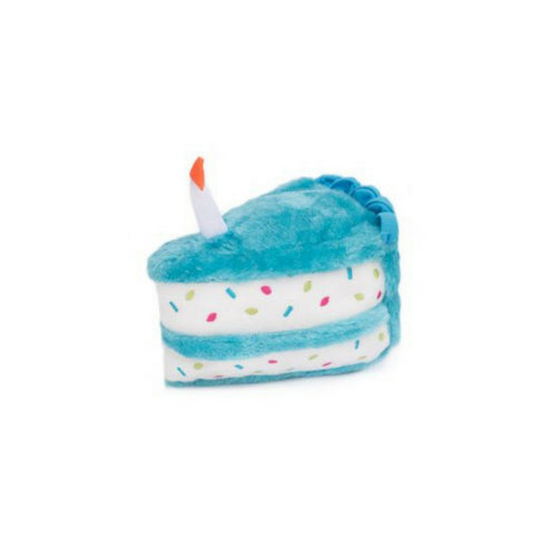 Zippy Paws Birthday Sprinkle Cream Cake Slice Squeakie Dog Toy Blue