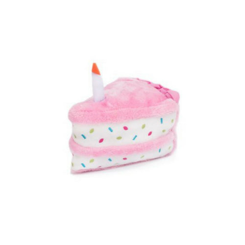 Zippy Paws Birthday Sprinkle Cream Cake Slice Squeakie Dog Toy Pink