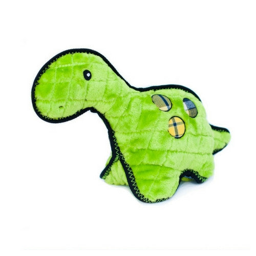 ZippyPaws Z-Stitch Grunterz Durable Tough Dog Toy — Donny the Dinosaur Front View