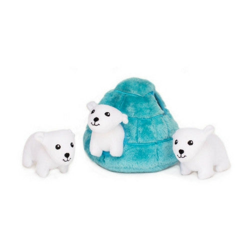 Zippy Paws Polar Bear Igloo Burrow Interactive Plush Puzzle Dog Toy