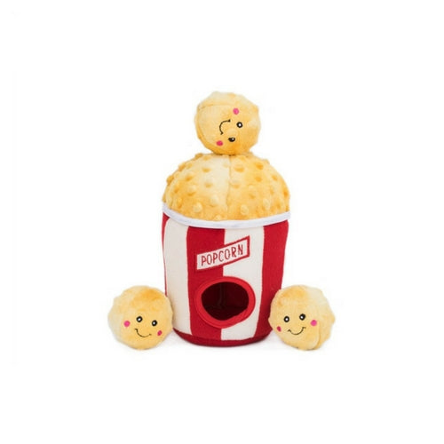 Zippy Paws Popcorn Bucket Burrow Interactive Plush Puzzle Dog Toy