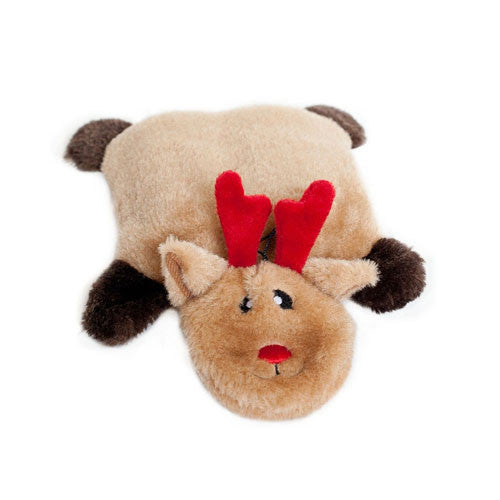 ZippyPaws Holiday Squeakie Pad Reindeer Plush Dog Toy