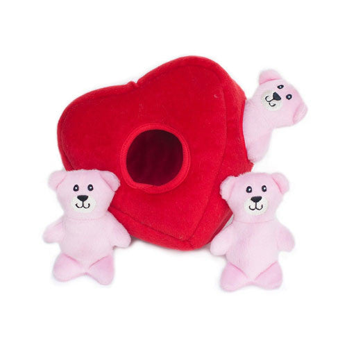 Zippy Paws Valentines Heart Teddy Bear Burrow Interactive Dog Toy Front View