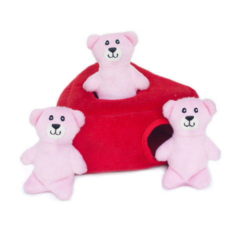 Zippy Paws Valentines Heart Teddy Bear Burrow Interactive Dog Toy Side View
