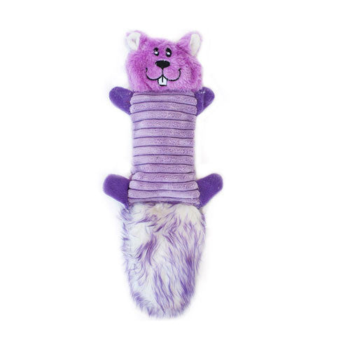 Zippy Paws Zingy Purple Squirrel Wildlife Plush Dog Toy