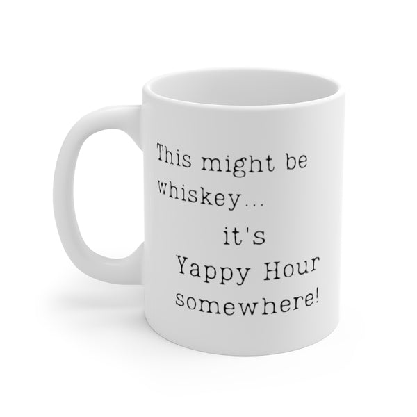 This might be whiskey... it's Yappy Hour somewhere! Mug (left side view)