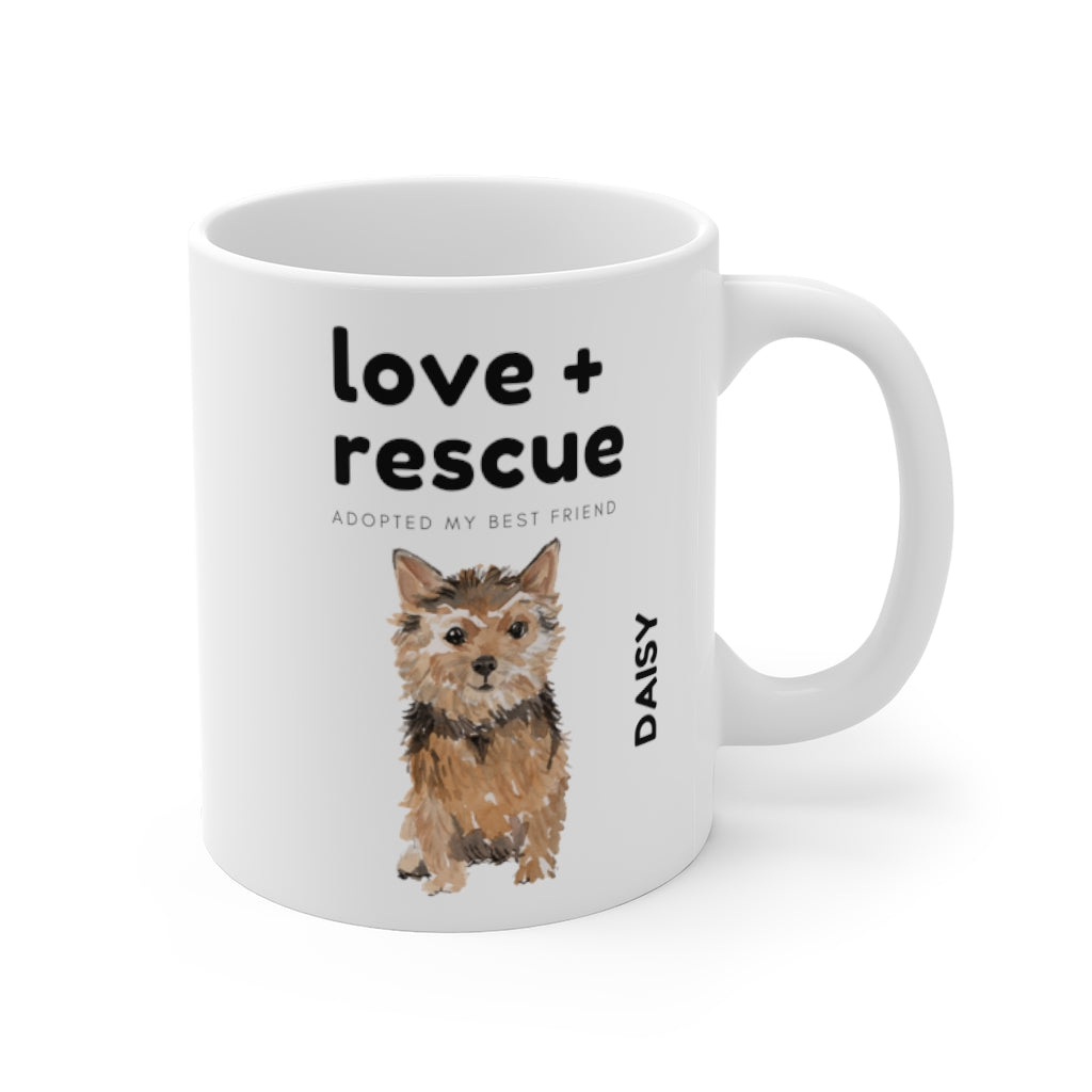 love + rescue Mug — Norfolk Terrier (right side view)