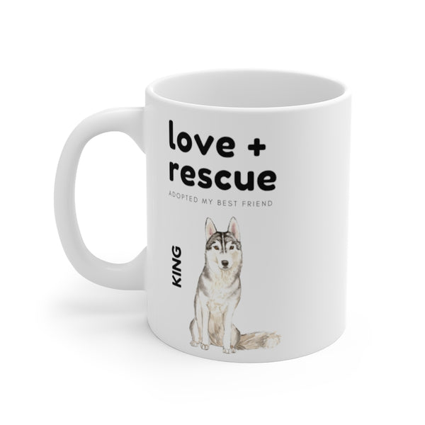 love + rescue Mug — Siberian Husky (left side View)