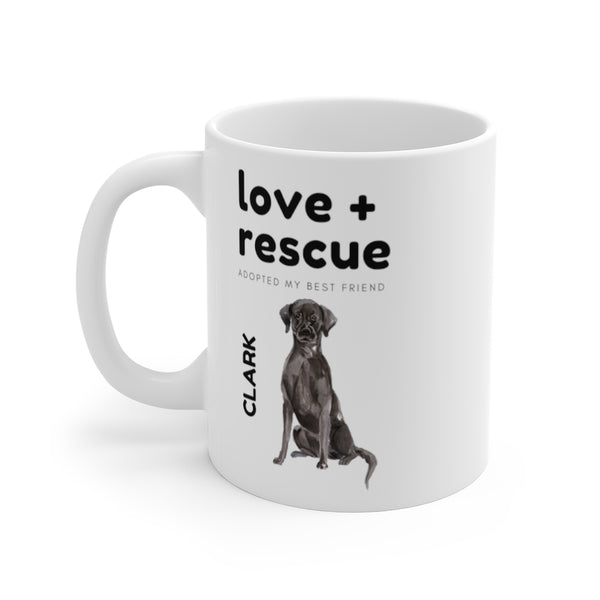love + rescue Mug — Black Lab (left side view)