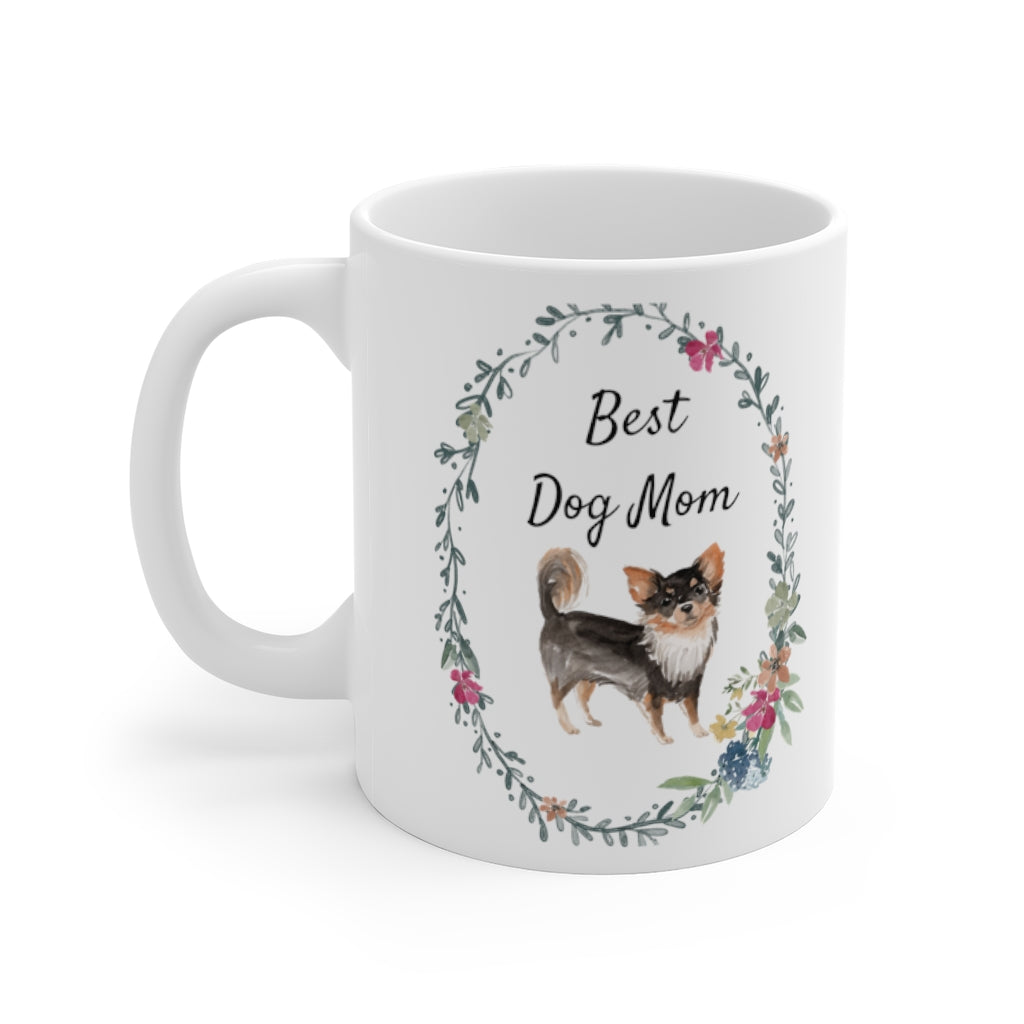 Best Dog Mom Mug — Long Haired Chihuahua (left side view)