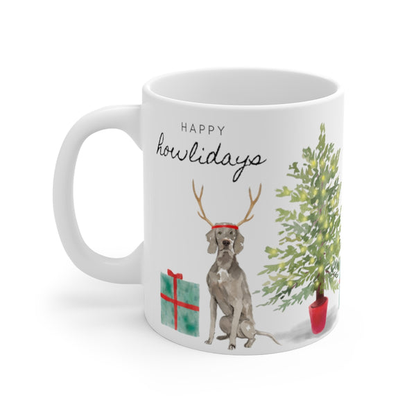 Happy Howlidays Mug — Weimaraner (left side view)