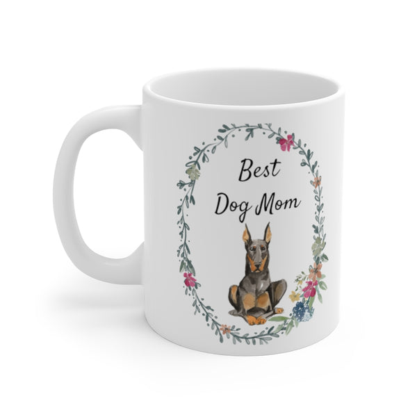 Best Dog Mom Mug — Doberman (left side view)