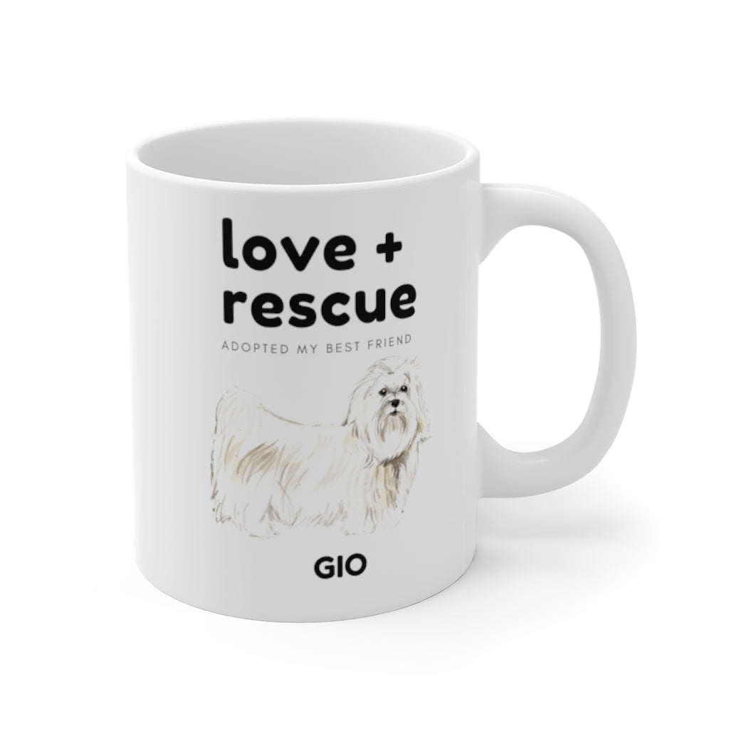 love + rescue Mug — Maltese (right side view)